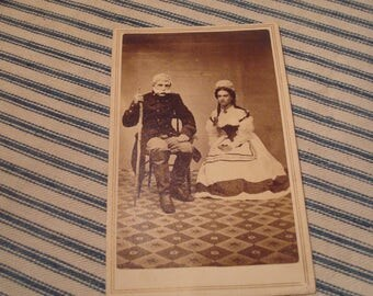Civil War CDV image of a soldier and nurse  Blank back-mark   Great image