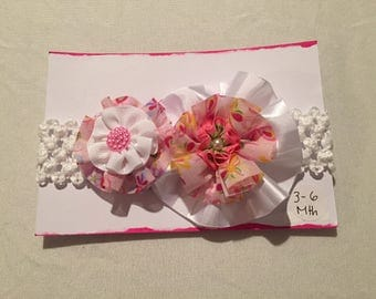 White and pink flower headband