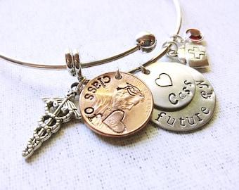 Future RN Bracelet, Graduation Bracelet, Graduation Penny, Graduation Gift, Senior Gift, Nurse Bracelet, ,RN Jewelry, Class of 2017, Medical