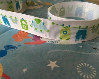 Baby boy grosgrain ribbon, printed with blue washing line design, 25mm wide, by 1m lengths