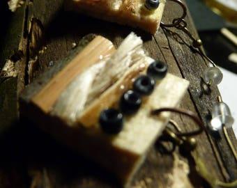 Bark, rope and pearls raw earrings CAROLE
