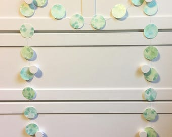 Green confetti garland, Paper garland, Hand painted garland, Wall decorations, Watercolor wall decorations
