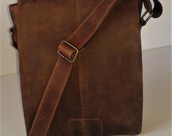 Italian Handmade, Oiled Leather, Vintage Style Bag, Manbag, Shoulder Purse.
