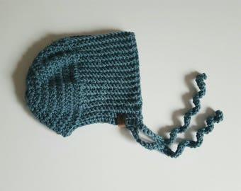 Crochet Bonnet   Cashmere   Ribbed Pattern   0-3 Months