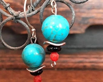Turquoise and red agate drop earrings