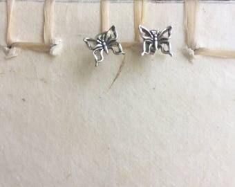Sterling Silver butterflies stud earrings