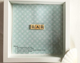 Dad scrabble frame wall art - gift for him, gift for dad, Father's Day, new dad, dad to be, daddy, daddy gifts