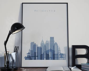 Philadelphia Watercolor Philadelphia Home Decor Philadelphia Print Philadelphia Poster Philadelphia Photo Philadelphia Skyline Wall Decor