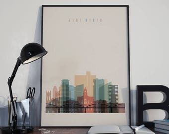 Fort Worth Art Watercolor Fort Worth Poster Multicolor Fort Worth Wall Art Fort Worth Print Wall Decor Fort Worth Photo Home Decor Unframed