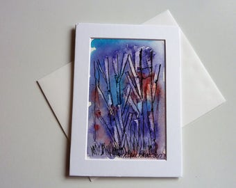 Purple Explosion, Hand Made Cards, Ink and Watercolor, 5 x 7 Inches