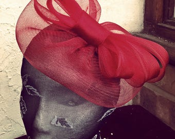 dark red feather fascinator millinery burlesque headband wedding hat hair piece