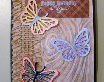 Birthday card decorated with burlap and butterflies on embossed tree trunk background //birthday card for him // birthday card for her //