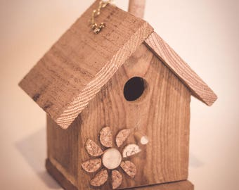 Reclaimed Wood Birdhouse - Wine Cork Flower