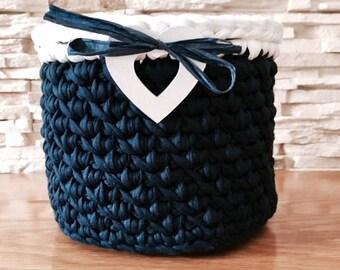 Dark Blue and White Storage Basket Crochet with Decor Heart