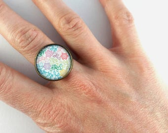 Ring adjustable pattern colorful flowers
