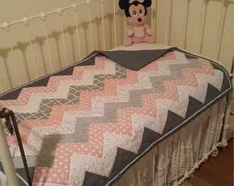 Modern Chevron baby/toddler quilt