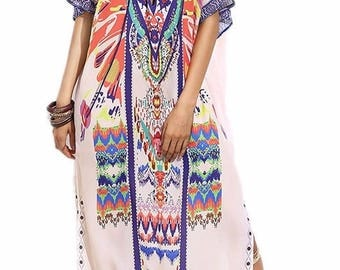 Womens beach cover up, summer coverup maxi dress, boho chic, kaftan, kimono, bathing suit cover up