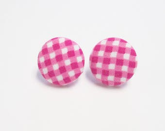 Pink checked earrings gingham earrings covered button earrings pink earrings handmade earrings