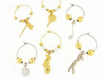 Golf Drink Charms, Wine Glass Charms
