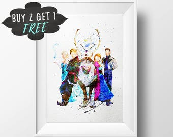 Frozen Birthday Party Favors Printable, Frozen Characters Wall Art Print Poster, Nursery Decor Printable Watercolor, Elsa Instant Download