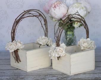 Flower Girl Basket Shabby Chic Wedding Decor Pair SET OF 2 (Item Number 140243)