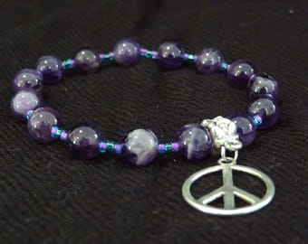 Amethyst Crystal Bracelet with Silver Peace Pendant