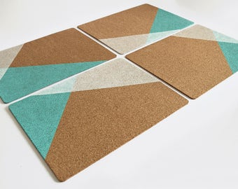 4 Cork Placemats Hand Painted Geometric Design (Original Design)