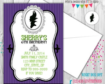 Maleficent party invitations
