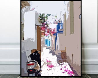 Mykonos, Greece Photo Print or Canvas, Boganvilla Decor, Santorini Wall Art Gift, City Village Picture, Beautiful Painting, Home Decor Art
