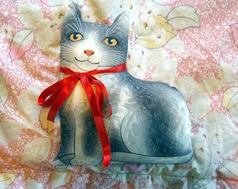 Grey Gray Striped Calico Cat Stuffed Throw Pillow With Bow Funny Project Cat Lady Gift Vintage Cute Stuffed Animal Toy