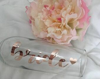 Rose gold bride champagne flute- rose gold champagne flute- bride to be gift- engagement gift- champagne glass- rose gold bride- bridal show