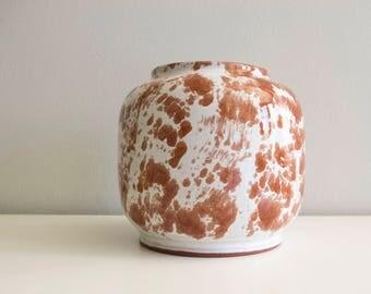 Studio pottery. Studio pottery ceramic vase. White brown ceramic vase.