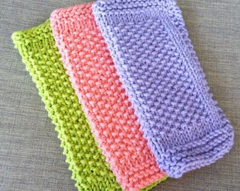 Dishcloths | Knit Dishcloths | Lavender | Green | Pink | Dish Towel | Wash Cloth | Cotton | Rustic Dish Cloths | Farmhouse Kitchen
