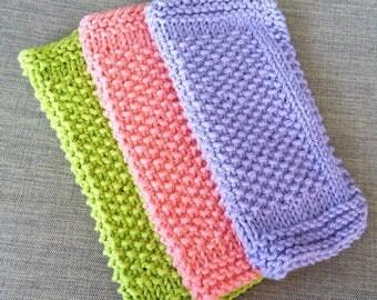 Dishcloths | Knit Dishcloths | Lavender | Green | Pink | Dish Towel | Wash Cloth | Cotton | Rustic Dish Cloths | Farmhouse Kitchen