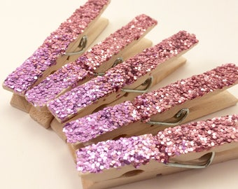 Ombre Lavendar Rose Clothespin Magnets