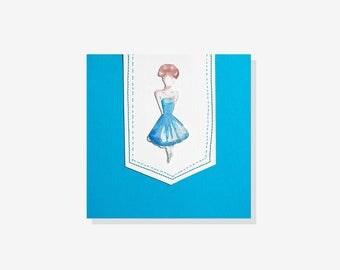 Girl in the blue short dress
