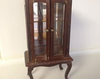 Dollhouse wooden china cabinet