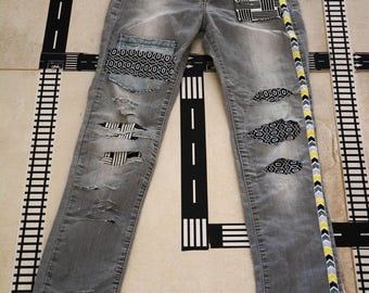 woman jeans Vintage 80s  one of a kind jeans Patched Jeans