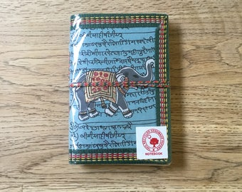 Blue Indian Eliphant diary (handmade recycled paper)