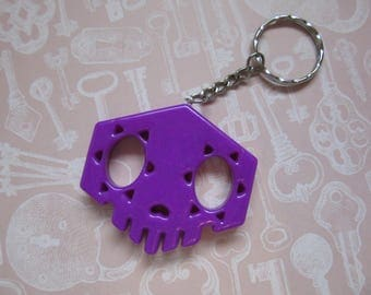 Overwatch Sombra Inspired Skull Charm - Purple Key Ring/Chain Cosplay - 3d Printed and finished!