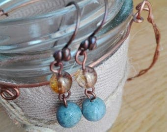 Blue Coral drop earrings