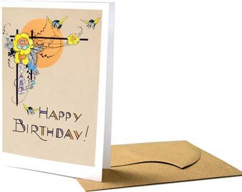 Flowers and Bees Birthday Greeting Card