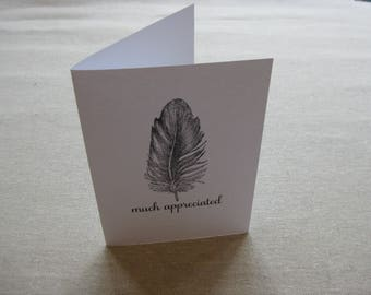 6 Handmade Feather  blank notecard set