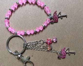 Flamingo Bracelet and Key Ring