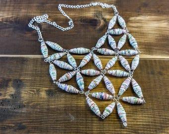 Sweet Pea Paper Bead Bib Necklace