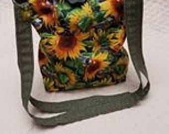 Reversible One of a Kind Sunflower and Chickadee  Shoulder bag