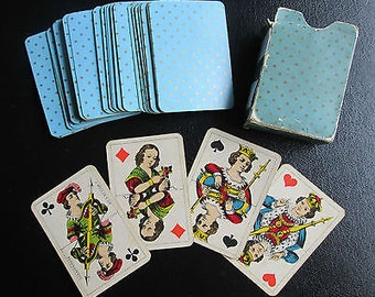 C.1895 Schaffhouse Children's Toy Playing Cards Rare 1st Edition Patience No 17