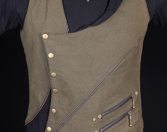 General Gypsy Waistcoat(Green and Black)steam punk--Burning Man-mens vest-festival-psychedelic- psytrance-fire performer-Oregon Eclipse-doof