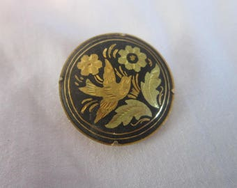 Vintage Chinese Damascene Circle Brooch with Birds and Flowers