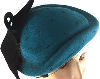 Turquoise velour felt percher with vintage black silk veiling and black velour felt ornament